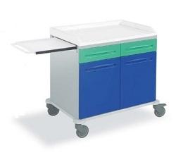 Медицинская тележка с 2 ящиками 2 створками с выдвижной подставкой 16-FT910