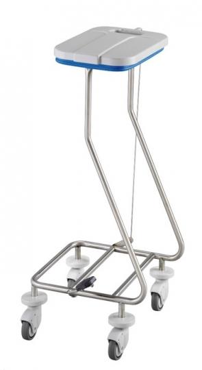 Тележка для белья из нержавеющей стали на 1 мешок  с педалью и крышкой 16-FP465 (Вариант 1)