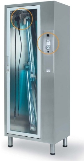 Медицинские шкаф для хранения 4 эндоскопов из нержавеющей стали с лампами 23-PA1740 (Вариант 3)