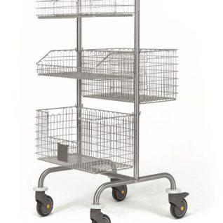Двухсторонняя медицинская тележка (для корзин и лотков) 16-FP411 (Вариант 3)