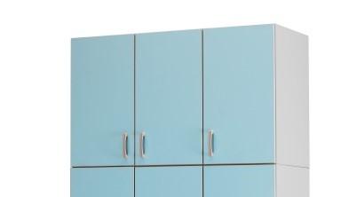 Медицинский шкаф-антресоль с 3 дверцами с 2 полками фасады из биламината 13-FP186 (Вариант 1)