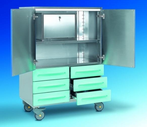 Медицинская тележка из нержавеющей стали 6 ящиков и 2 дверцы 16-FT940 (Вариант 2)