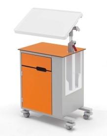 Медицинская тумбочка двусторонняя на колесах с наклонным столиком 14-CP263 (Вариант 3)