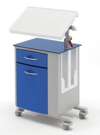 Медицинская тумбочка двусторонняя на колесах с наклонным столиком 14-CP263 (Вариант 4)