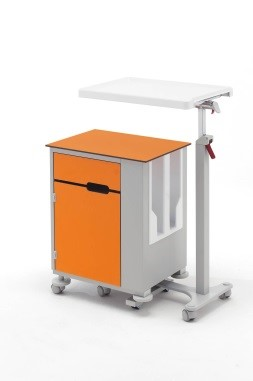 Медицинская тумбочка двухсторонняя на колесах с независимым столиком 14-CP285 (Вариант 1)