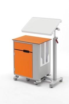 Медицинская тумбочка двухсторонняя на колесах с независимым наклонным столиком 14-CP285 (Вариант 3)