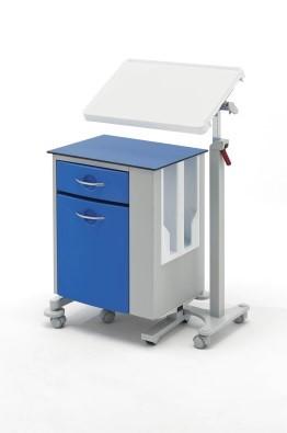 Медицинская тумбочка двухсторонняя на колесах с независимым наклонным столиком 14-CP285 (Вариант 4)