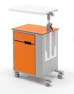 Медицинская тумбочка односторонняя на колесах со столиком 14-CP261 (Вариант 1)