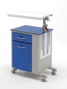 Медицинская тумбочка односторонняя на колесах со столиком 14-CP261 (Вариант 2)