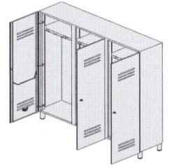 Шкаф-раздевалка 3-местный с отделениями для чистого и грязного белья 13-FP183 (Вариант 4)